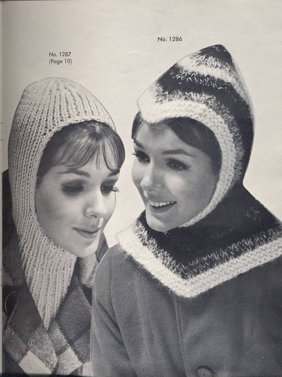 Midcentury hat patterns knit and crochet Fleisher Bear Brand Botany 1961 count 13