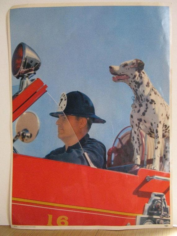 VINTAGE FIREMAN POSTER dalmation dog 1950's
