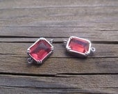 Ruby faceted rectangle Glass in bright rhodium plated brass setting connectors, 2 Pieces