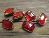 6 Ruby Red Faceted Lucite Channel Set Beads Japan