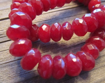 """Cherry Red Agate Faceted Rondelles Approx 8x5mm, 7.5"""" Strand"""
