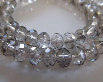 "Gray Faceted Rondelle Crystals, Beads, 6X4mm, 8"" Strand"