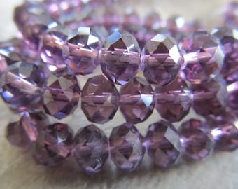 """Purple Faceted Rondelle Crystals, Beads, 6x4mm, 8"""" Strand"""