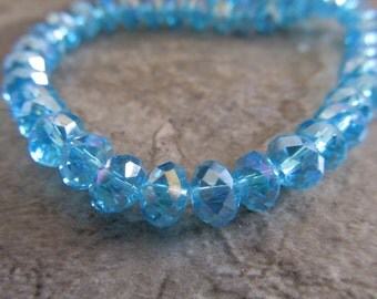 "Swiss Blue AB Faceted Rondelle Crystals, Beads, 6x4mm, 8"" Strand"