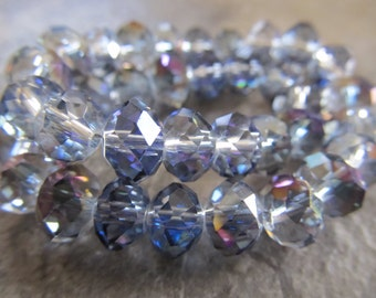 35 Blue & Purple AB Faceted Rondelle Crystals, Beads, 8x6mm