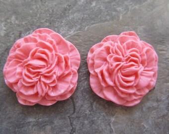 2 Vintage Style Medium Pink Resin Flower Cabochons 33mm
