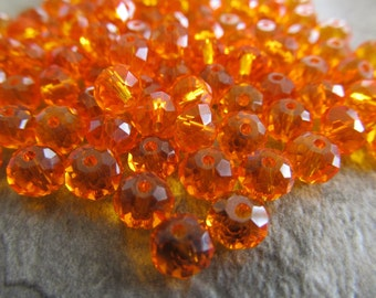 """8"""" Fiery Orange Faceted Rondelle Crystals, Beads, 6x4mm"""