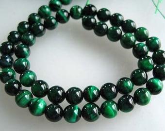 "8mm Green Tigers Eye Smooth Round Beads, 8"" Strand"
