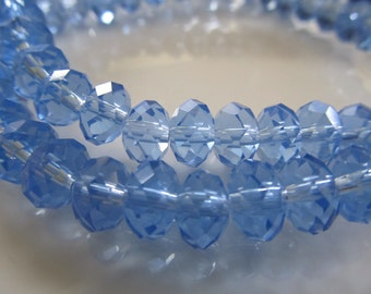 """Cambridge Blue Faceted Rondelle Crystals, Beads, 8x6mm, 8"""" Strand"""