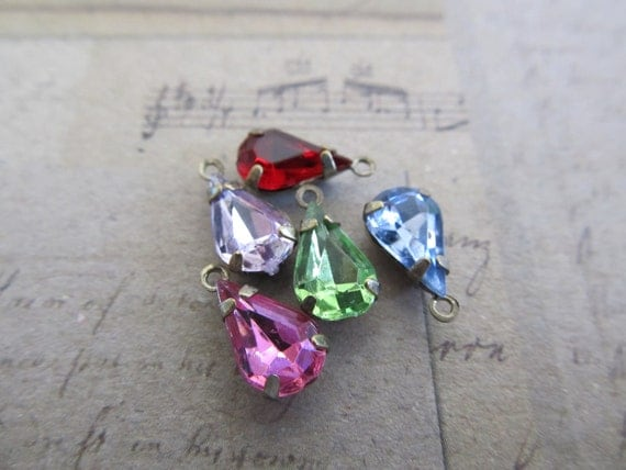 Your Choice of Color(s), 10 Vintage Glass Jewels, Teardop Drops 10x7mm