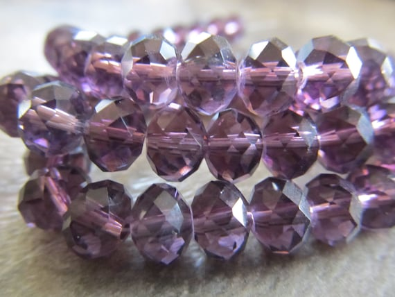 "Purple Faceted Rondelle Crystals, Beads, 8x6mm, 8"" Strand"