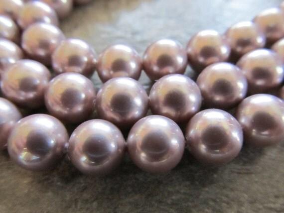 "Purple Shell Pearls, 8mm Round, Half Strand, 8"""