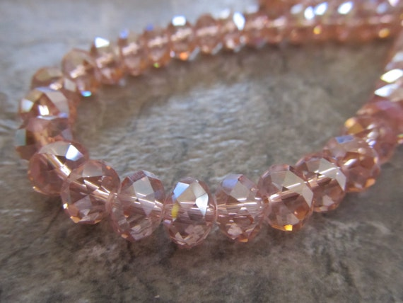 """Pink Faceted AB Rondelle Crystals, Beads, 8x6mm, 8"""" Strand"""