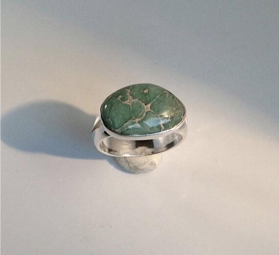 Rare Green Nevada Turquoise Gemstone Ring