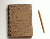 Hand Stamped Journal Notebook with Cursive Writing and Hang Tag Ready to Personalize