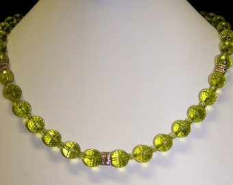 Exquisite faceted Genuine Peridot Necklace, Swarovski Crystal Rondelles, 14K Gold filled Rope Toggle clasp  (FREE shipping within the US)