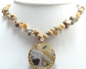 Wire wrapped Mexican crazy lace Agate in Yellow brass with mix chip beads and fresh pearls