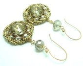 Honey Rivoli Crystal Earrings wire wrapped in Bronze with sterling silver beads and faceted crystals and gold plated fishing hooks