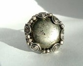 Wire wrapped Pyrite ring with East India Silver beads