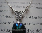 Mary sterling silver and genuine jewel beetle wing necklace, secret garden necklace