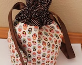 Lined Drawstring bag, Kawaii Tiny Matryoshka Row Natural Pink Japanese Fabric