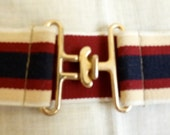 "80's burgundy, cream and dark blue striped elastic fabric belt, stretches from 31"" to 38"""