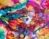 """Original Abstract Expressionism Contemporary Rainbow Wall Art Painting 18"""" x 12"""", signed by artist Brian Moss"""