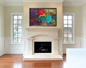 ORIGINAL Large Colorful Abstract Surreal Psychedelic Art