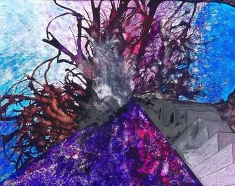 P7 - Blank Purple Blue Geometric Abstract Art Postcards
