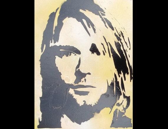 Framed Kurt Cobain Nirvana Pop Art Spray Paint Stencil Street Art Grafitti Portrait Original Painting