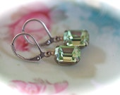 Antique silver Chrysolite lever back earrings light green dangle estate vintage