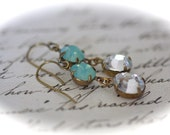 pacific opal and rhinestone earrings dangle antique brass Swarovski summer