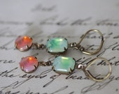 fun whimsical earrings dangle antique brass leverback pink orange green white givre vintage