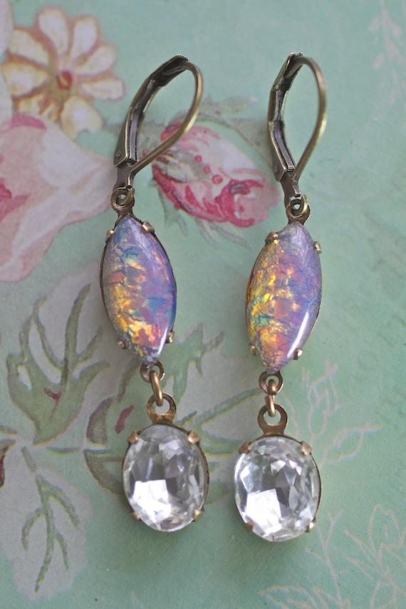 Vintage earring antique brass opal Swarovski lever back dangle rhinestone shabby soft romantic