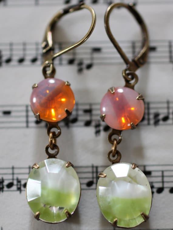 Summer earrings fun sherbert dangle antique brass leverback pink orange green white vintage