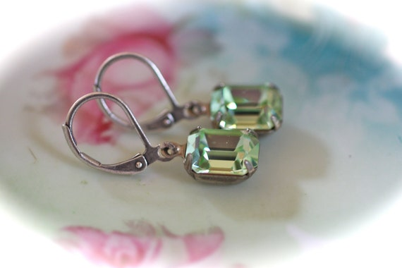 Antique silver Chrysolite lever back earrings light green dangle estate vintage