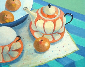 Orange Teapot I, colourful still life painting. Fine art print by Angela Brookens