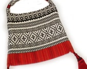 Tribal Style Textile Bag with red tassels, hand made in Australia