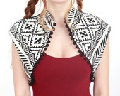 Black and White Vest With Black Pompoms, Ethnic/Boho inspired style, OOAK