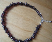 RESERVED for Yuki - 1-Dainty Garnet Anklet - sterling silver extension - FREE shipping in the U.S.