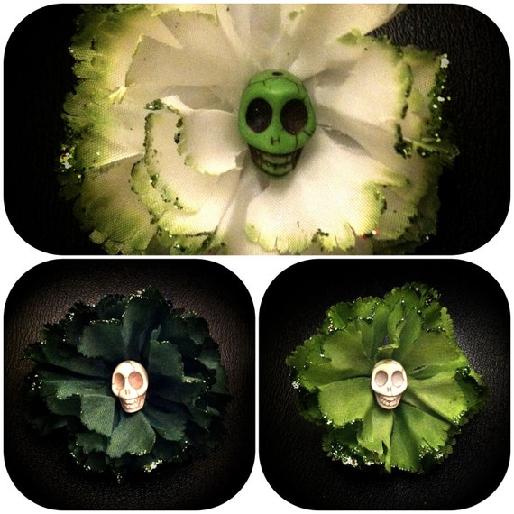 St Patrick's Day Skull Hair Flower in 3 colors