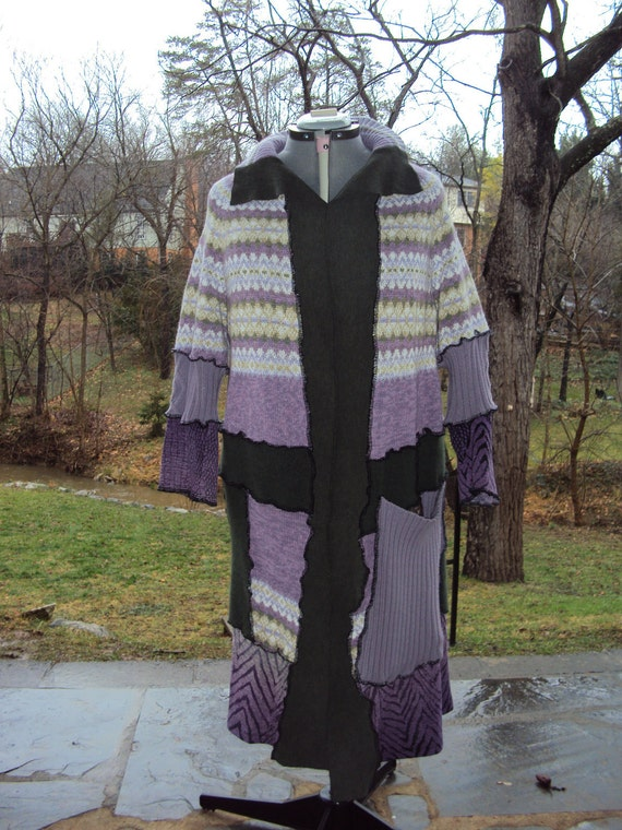 Recycled sweater coat. Purple with zebra print and avacado green. Cotton, acrylic and wool. Size M-L.