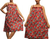 Red with Green,light Brown folwers  Thai Batik Cotton Long Dress  M L XL