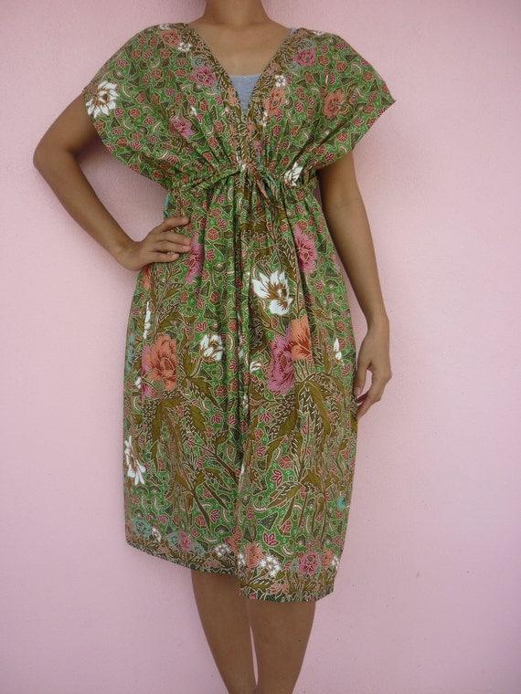 Green 2 tone White,Pink, Orange Flowers Thai Batik Cotton  Kimono Dress  M L XL