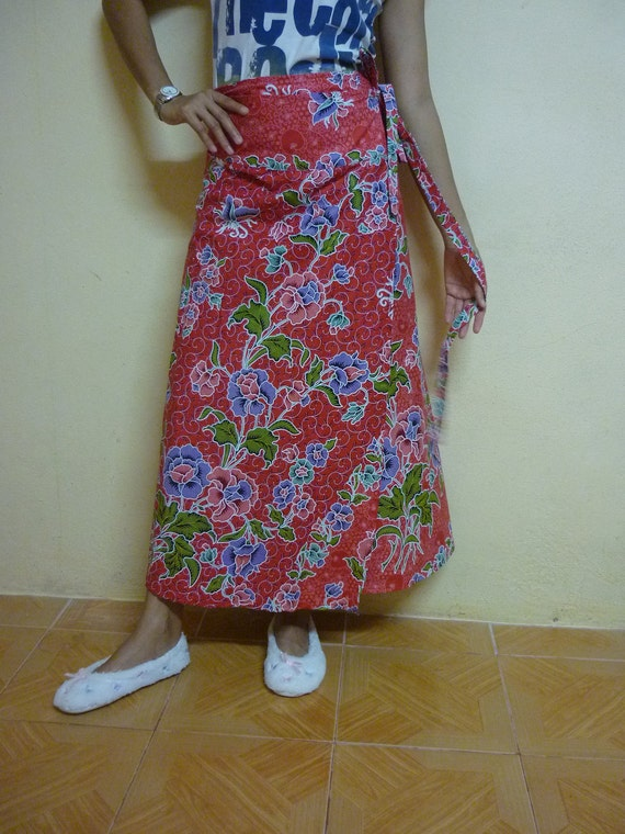 Red with Orange,Purple,Green Flowers long wrap skirt  M XL