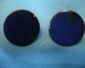 Copper enameled vintage earrings