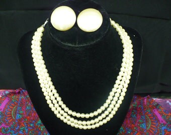 3 strand vintage pearl necklace and matching button earrings