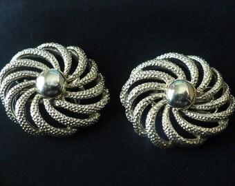 vintage Coro gold tone swirl earrings