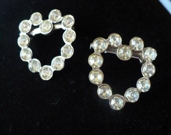 vintage rhinestone heart pins