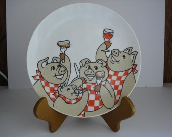 "Fitz and Floyd Pig Plate of Pigs ""Pigging Out"""